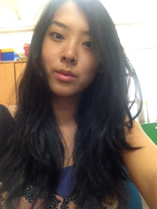 At work - no makeup and some serious bed head. I've claimed messy hair as my 'thing', mostly out of laziness.